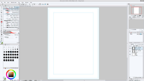 Faith Erin Hicks shows how her initial Manga Studio desktop looks