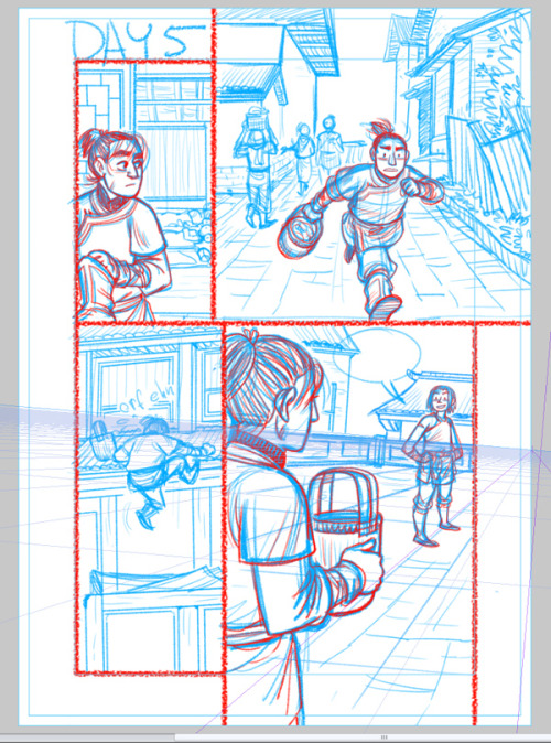 Faith Erin Hicks works enthusiastically with Manga Studio perspective grids