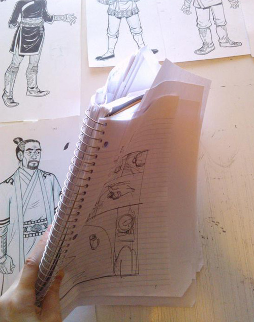 Making comics with Faith Erin Hicks - rough thumbnail draft of work