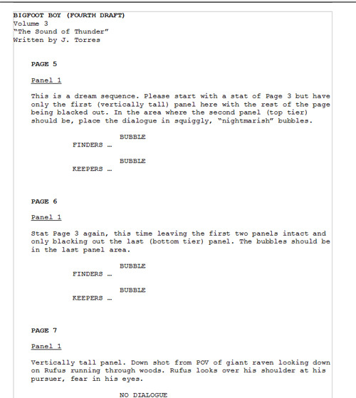 Making comics with Faith Erin Hicks - another script example