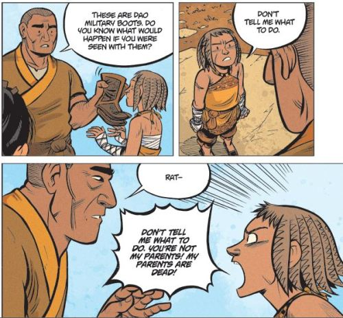 Faith Erin Hicks shows Rat of The Nameless City showing great emotion
