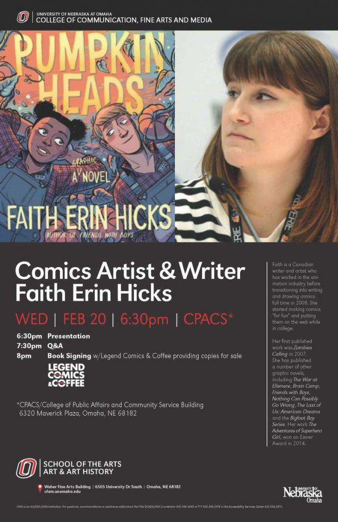faith erin hicks' webpage » Blog Archive » Event in Omaha